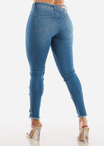 Image of Raw Hem High Rise Ankle Jeans
