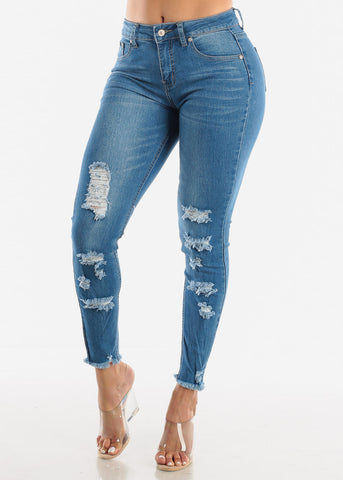 Raw Hem High Rise Ankle Jeans