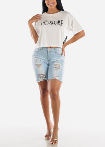 Image of Light Wash Double Sided Torn Denim Bermuda Shorts