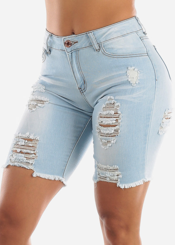 Light Wash Double Sided Torn Denim Bermuda Shorts