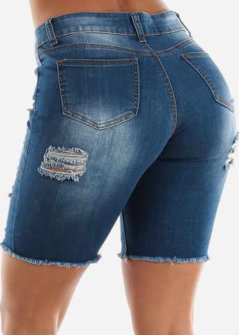 Image of Med Wash Double Sided Torn Denim Bermuda Shorts
