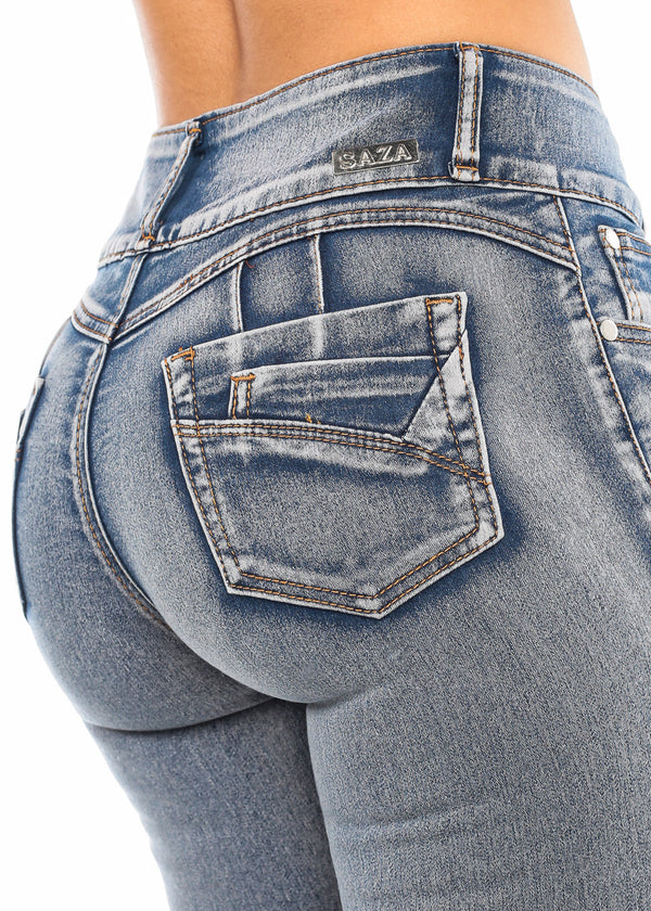 Torn Butt Lifting Faded Skinny Jeans