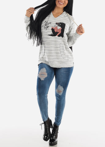 Image of High Waisted Dark Wash Distressed Skinny Jeans