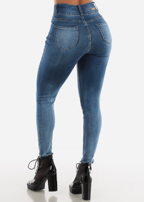 High Waisted Dark Wash Distressed Skinny Jeans