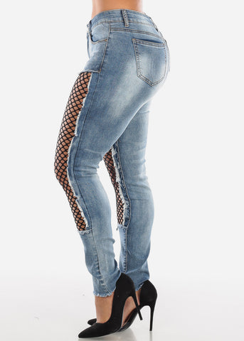 Image of Medium Wash Fishnet Skinny Jeans