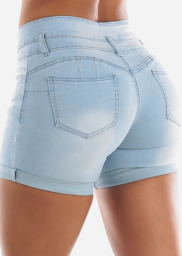 Levanta Cola Light Wash Denim Shorts