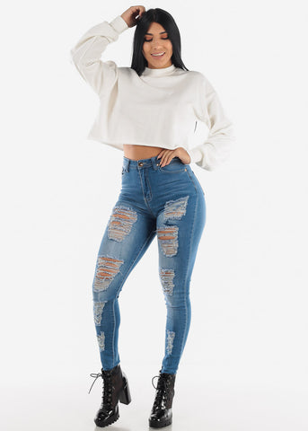 Image of Whisker High Rise Torn Blue Skinny Jeans