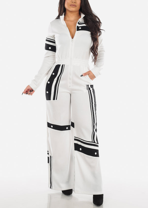 White & Black Sweatpants Jumpsuit
