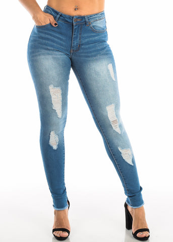 Ripped High Rise Med Wash Skinny Jeans