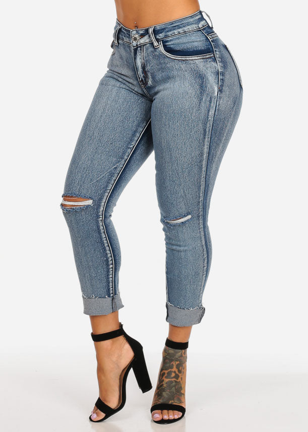 Mid Rise Acid Wash Distressed Ankle Skinny Jeans