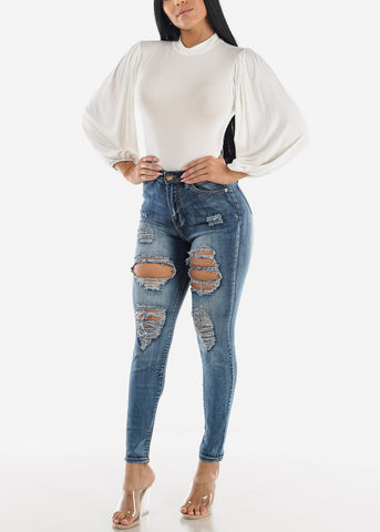 High Rise Distressed Faded Blue Skinny Jeans