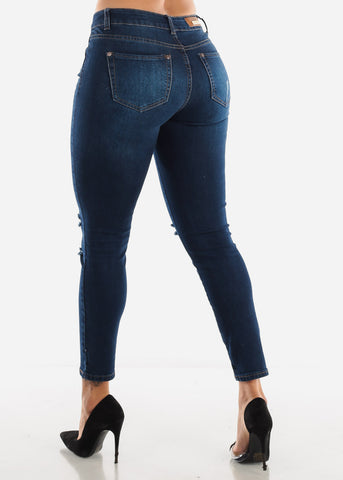 Image of Knee Rip Ankle Jeans