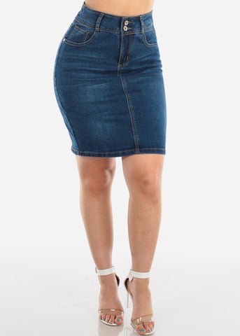 Image of 2 Button Push Up High Waisted Butt Lifting Levanta Cola Dark Wash Denim Skirt For Women Ladies Junior