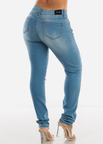 Faded Light Wash Denim Skinny Jeans