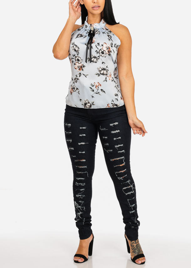 Ultra High Waisted Distressed Black Skinny Jeans