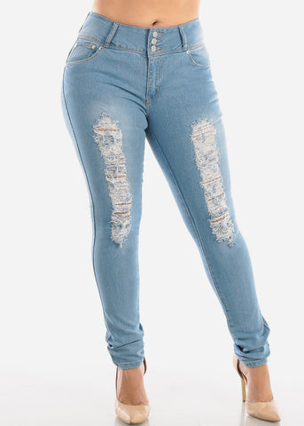 Plus Size Butt Lifting Torn Light Skinny Jeans