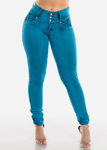 Image of Sexy Butt Lifting Mid Rise 3 Button Blue Skinny Jeans For Women Ladies Junior