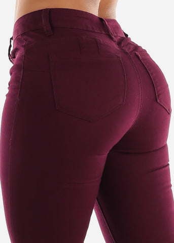 Image of Mid Rise Levanta Cola Burgundy Skinny Jeans