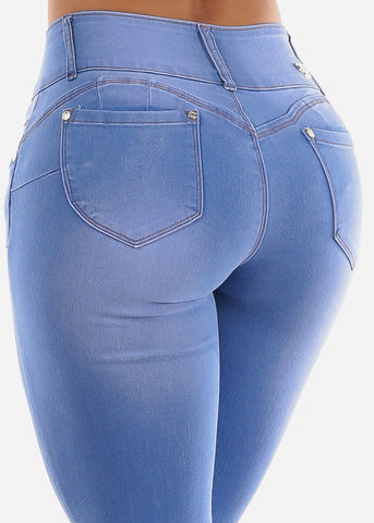 3 Button Light Wash Butt Lifting Levanta Cola Mid Rise Denim Skinny Jeans