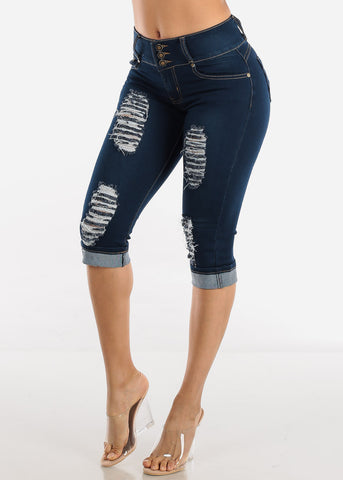 Dark Wash Torn Levanta Cola Denim Capris