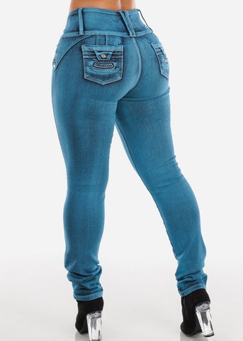 Blue Acid Wash Butt Lifting Jeans