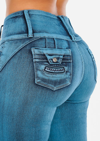 Image of Blue Acid Wash Butt Lifting Jeans