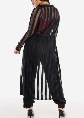 Black Mesh Striped Maxi Cardigan