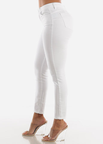 Image of Mid Rise Levanta Cola White Skinny Jeans