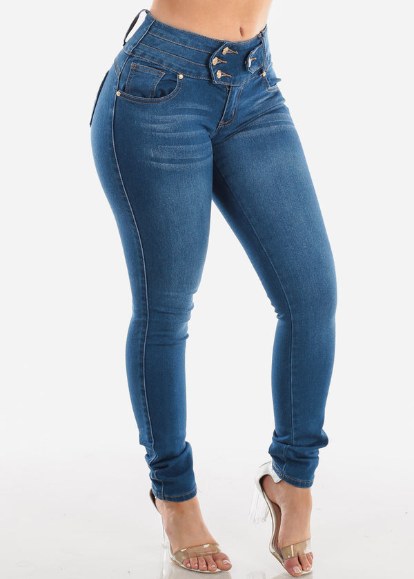 4 Button Butt Lifting Med Wash Skinny Jeans