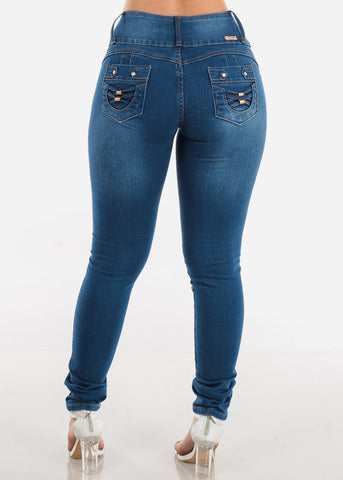 Image of 4 Button Butt Lifting Med Wash Skinny Jeans