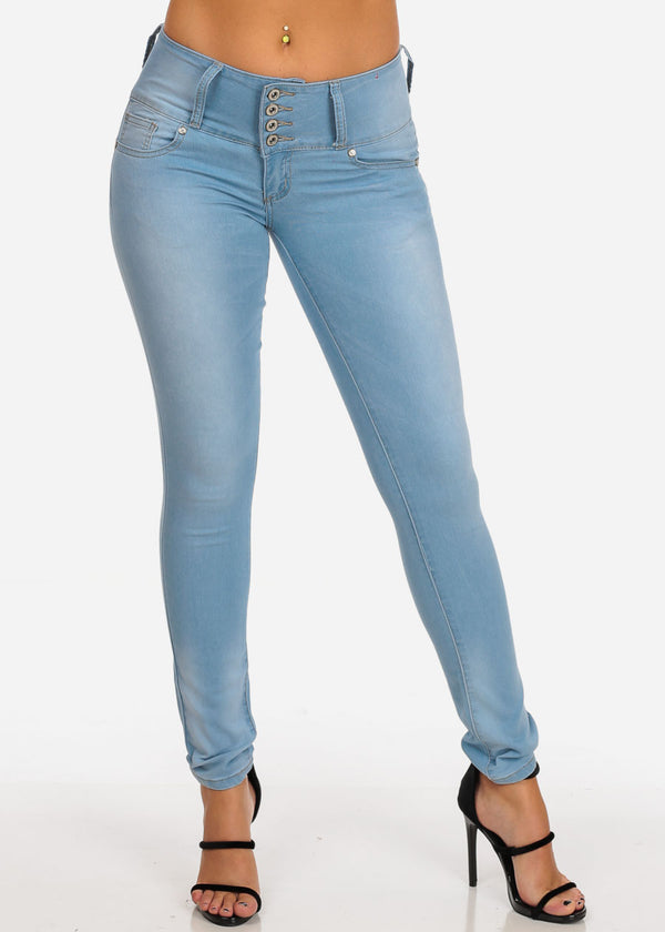 4 Button Butt Lifting Light Skinny Jeans