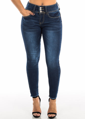 Blue Butt Lifting Skinny Ankle Jeans