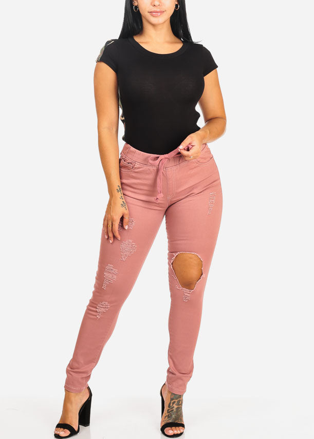 Pink Mid Rise Distressed Skinny Jeans