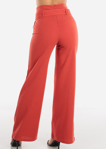 Image of Brick High Waisted Palazzo Trousers With Belt