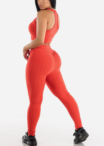 Image of Anti Cellulite Red Sports Bra & Leggings  (2 PCE SET)