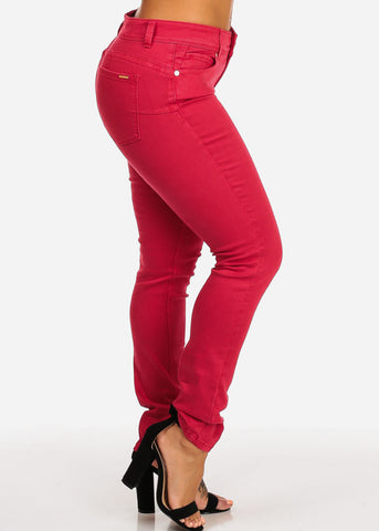 Image of Cache Brand Red Women's Mid Rise Skinny Pants