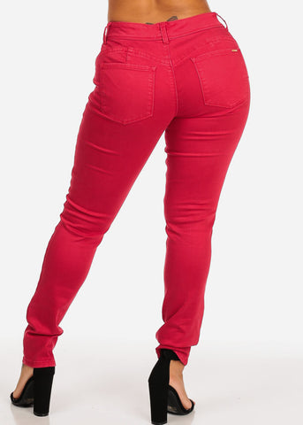 Cache Brand Red Women's Mid Rise Skinny Pants