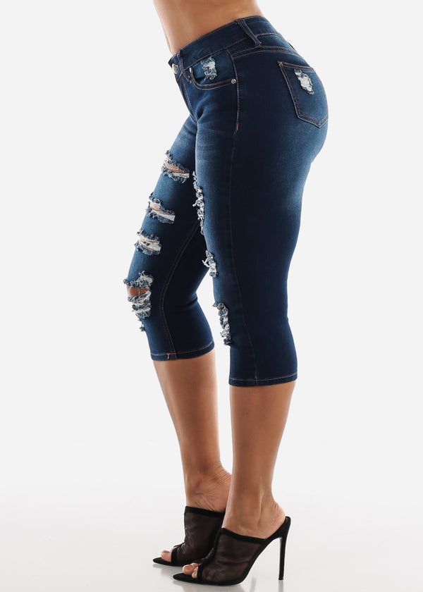Dark Wash Distressed Denim Capris