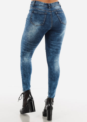 Acid Wash Distress Skinny Jeans