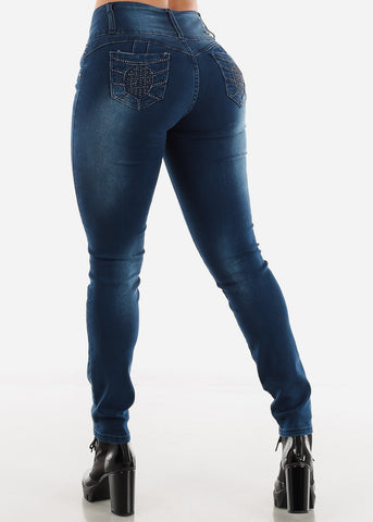 Image of Dark Wash Button Zip Up Skinny Jeans