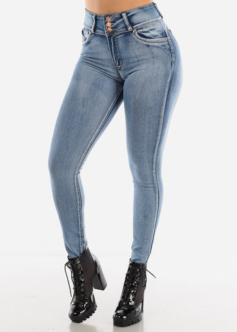 Image of Acid Wash High Rise Butt Lift Jeans