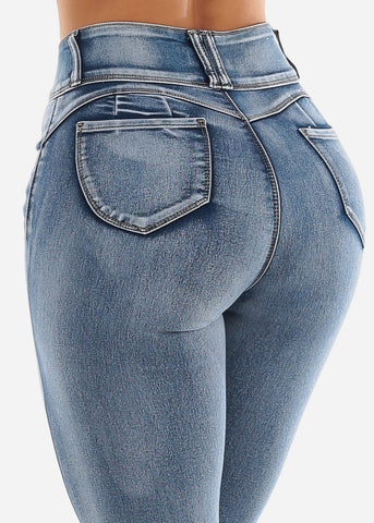 Acid Wash High Rise Butt Lift Jeans