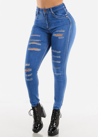 High Waist Distressed Blue Jeans
