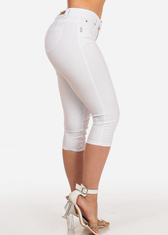 Image of Women's Junior Summer Stretchy Solid Color Super Stretchy Trendy Low Rise White Booty Lifting Levanta Cola Cuffed Uncuffed Capris