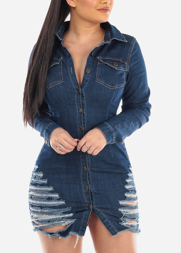 Dark Wash Button Up Torn Denim Dress