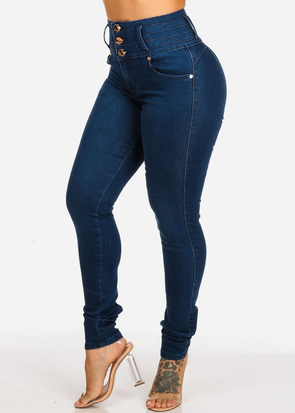 High Waisted Levanta Cola Dark Skinny Jeans