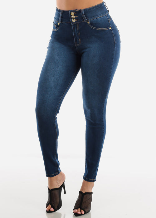 High Rise Butt Lifting Dark Blue Skinny  Jeans
