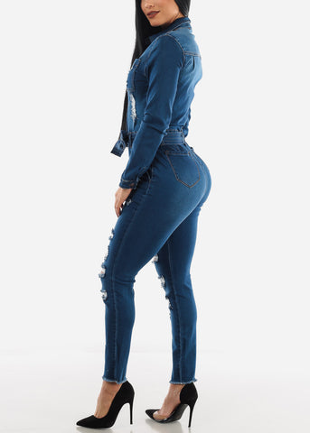 Image of Long Sleeve Denim Jumpsuit