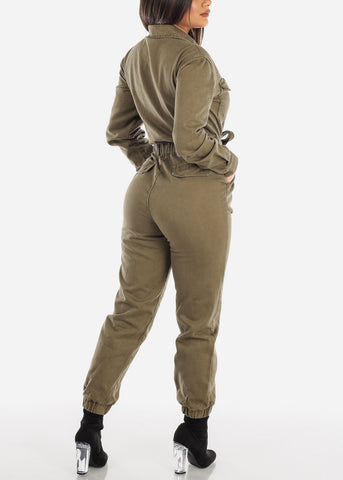 Cotton Olive Zip Up Jumpsuit