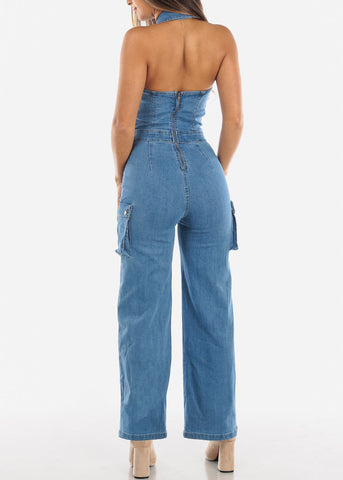 Image of Halter Neck Wide Leg Denim Jumpsuit